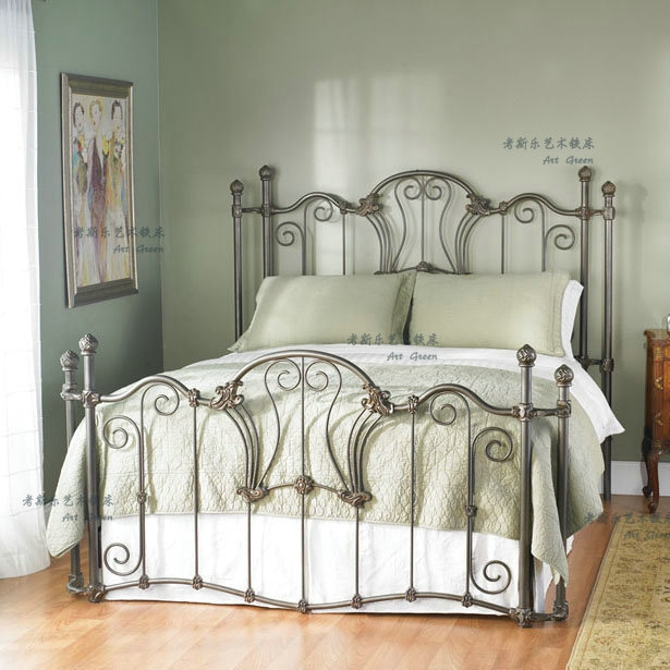 Simple European Style Iron Bed Double Bed 1.8 1.5 1.2 Meters Children Bed White Princess Bed Furniture Home Furniture