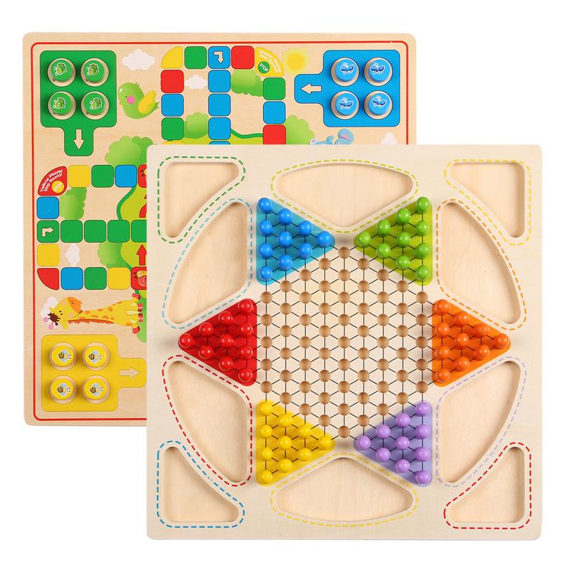 Cờ bằng gỗ bay cờ vua trẻ em cờ vua cha mẹ và con trò chơi máy tính để bàn trí tuệ điện đồ chơi mầm non mầm non lớp