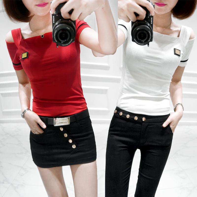 2016夏装新款韩版大码女装宽松上衣短款红唇露脐露肩短袖女T恤衫