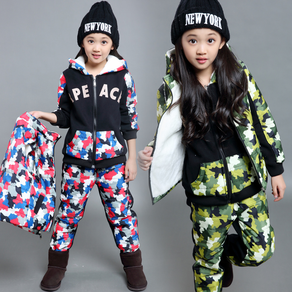 女童冬装三件套加厚大童运动套装冬季加绒卫衣童装儿童女孩衣服