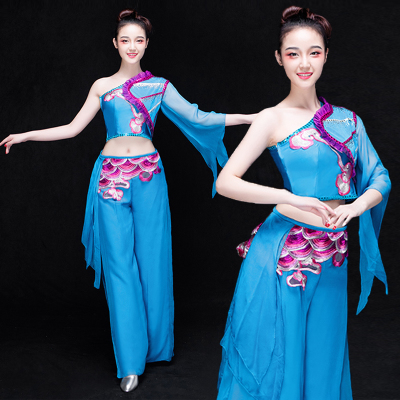 Chinese Folk Dance Costumes Water Sleeve Dance Fan Umbrella Dance Performance Clothes Modern Dance Costume Adult Classical Dance Yangko Costume