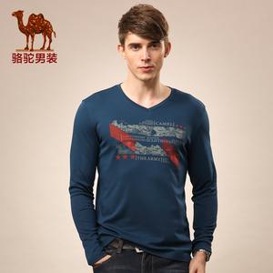 Camel lạc đà nam 2015 mới mùa thu v- cổ kinh doanh bình thường rắn màu của người đàn ông dài tay áo t- shirt