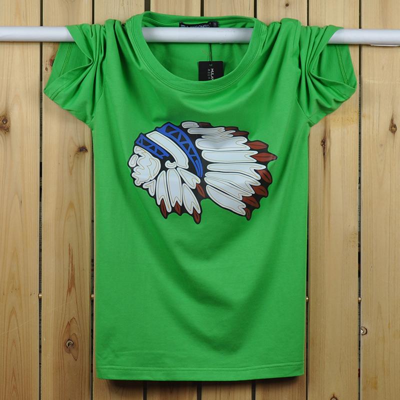 潮t恤 男士个性印第安人头像短袖纯棉圆领t恤 欧美嘻哈风夏装半袖