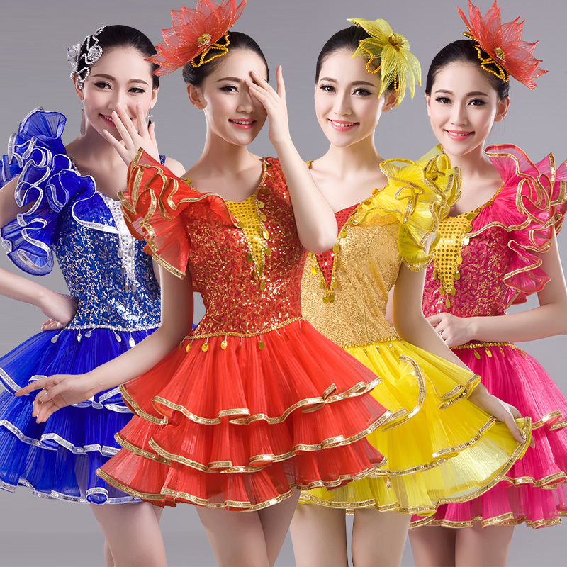 Jazz Dance Costumes Performing dress Female Modern Dance Costume sequins Pengpeng skirt short skirt square stage costume dance