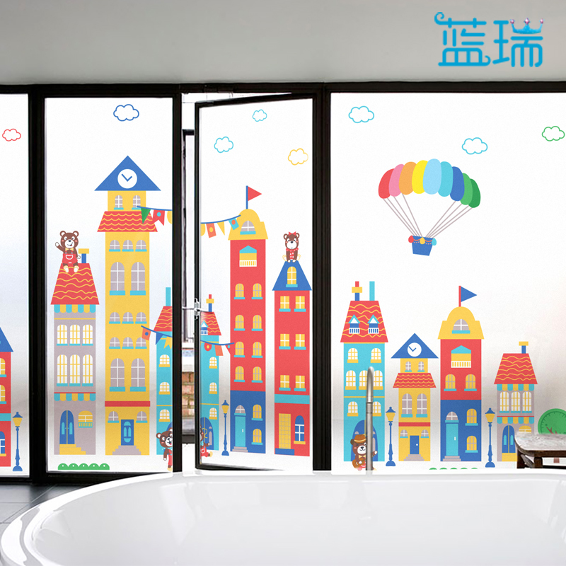 LAN Rui Cartoon Glass Film Matte Static Film Classroom Window Kindergarten Glass  Door Stickers Bear Town