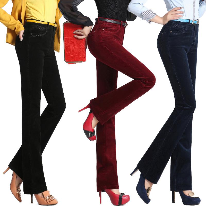 2015秋冬新款紫色灯芯绒条绒休闲韩版长裤子微喇直筒裤中腰女裤子