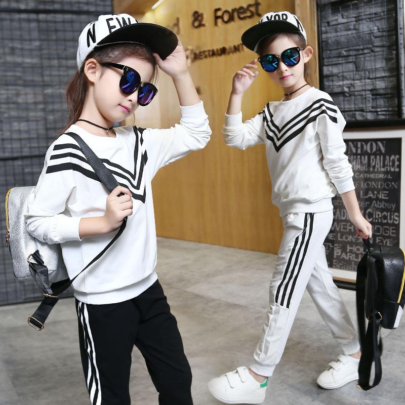 2016秋款中大女童套装韩版纯棉长袖纯色运动海军条纹休闲裤两件套