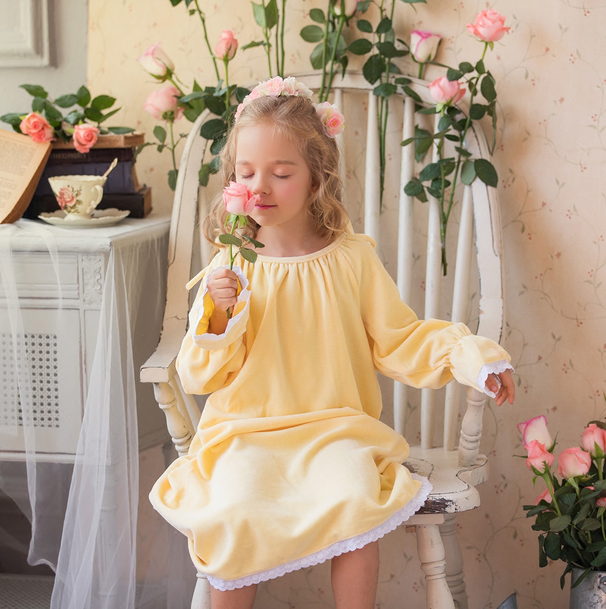 2112625ede Winter cotton velvet children Princess nightdress female treasure long  nightgown Palace home service