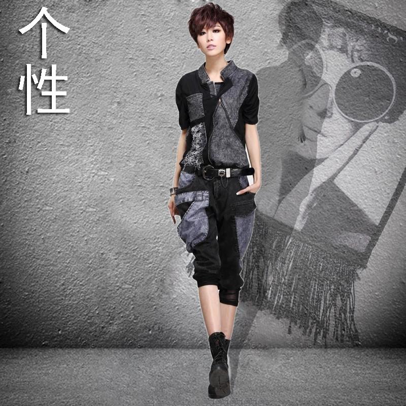 夏季少女士短袖短裤韩版纯棉经典条纹时尚休闲个性运动服两件套装