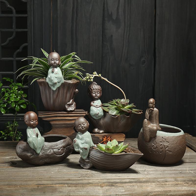 创意客厅多肉花盆花器小摆件小和尚紫砂水培陶瓷哥窑花盆绿萝水培