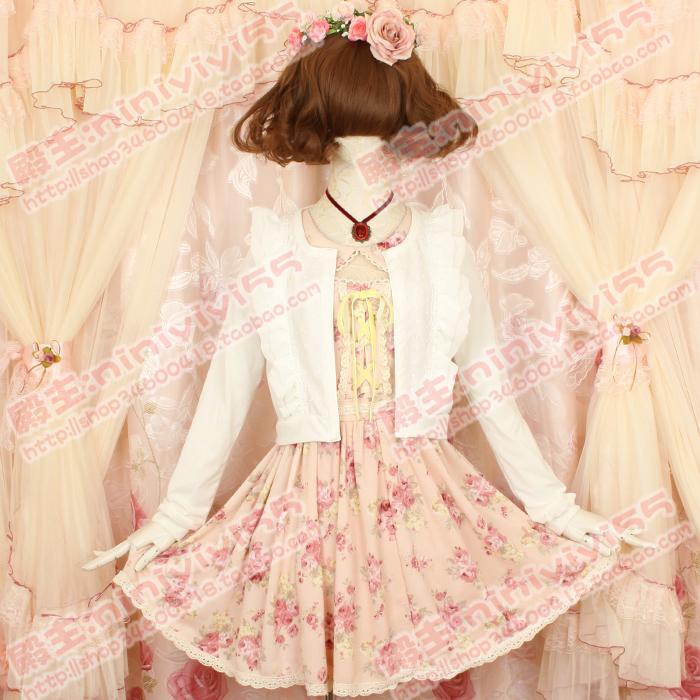 日本LIZ LISA日系甜美可爱荷叶边木耳边修身短款针织小开衫短外套