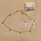 Hong Kong Chow Tai Fook Counter Genuine 999.9 Pure Gold Glossy Round Bead Ball Gold Anklet