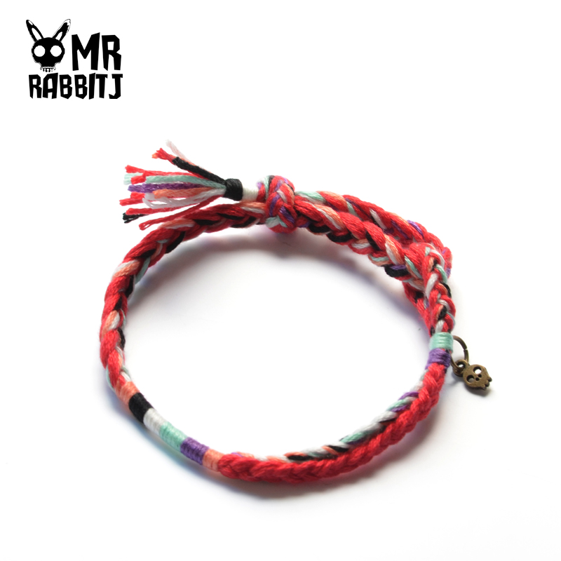 MR RABBIT J handmade custom braided this life red wishing hand rope bracelet full of optimism