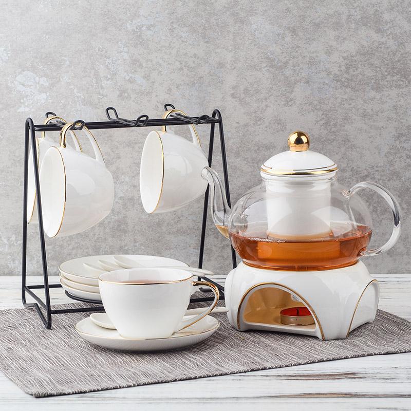 Четыре благословение ароматный чай чайный набор континентальный днем чай утолщённый сопротивление горячей стекло цветы чайный сервиз фрукты чай пакет домой