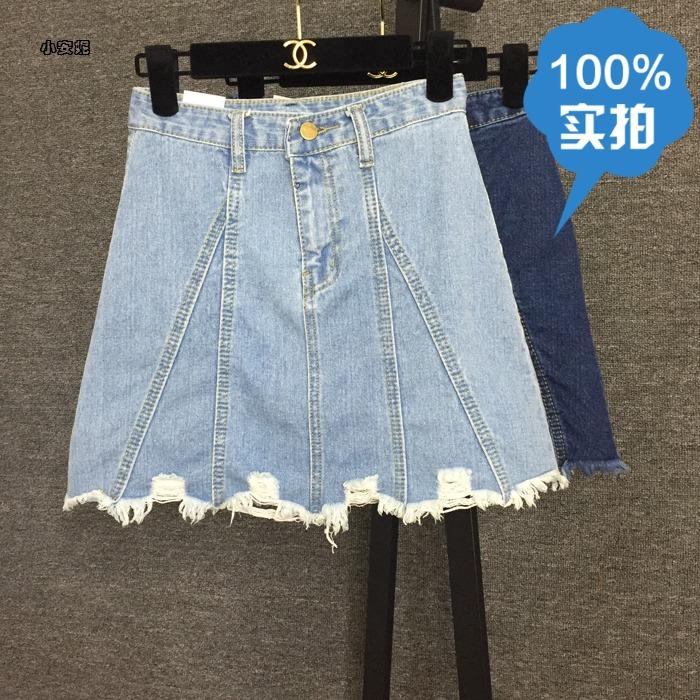 2016春夏新款宋佳同款牛仔半身裙欧美高腰包臀裙A字一步短裙女装