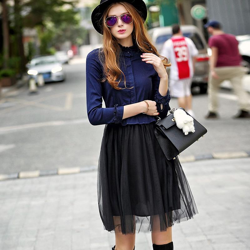 【天天特价】春装韩版牛仔背心连衣裙女中长款背带裙吊带长裙女潮