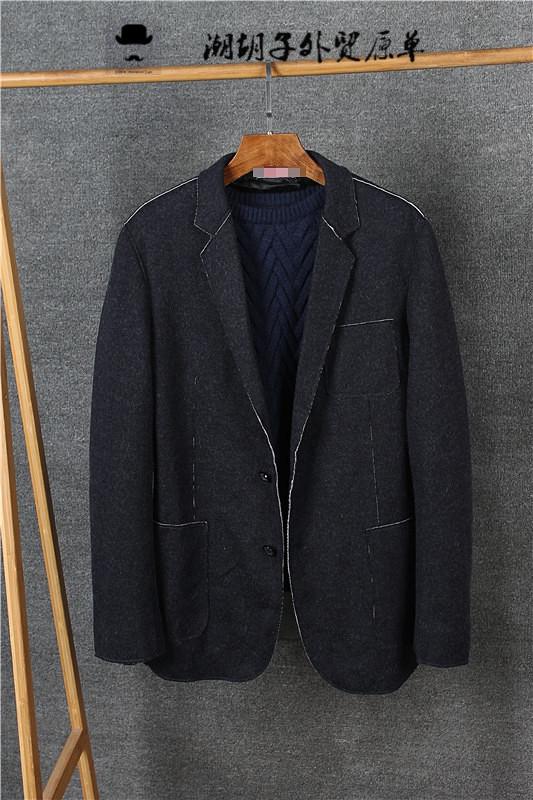欧美大牌外贸原单出口尾货修身轻便西服格子印花男士羊毛休闲西装