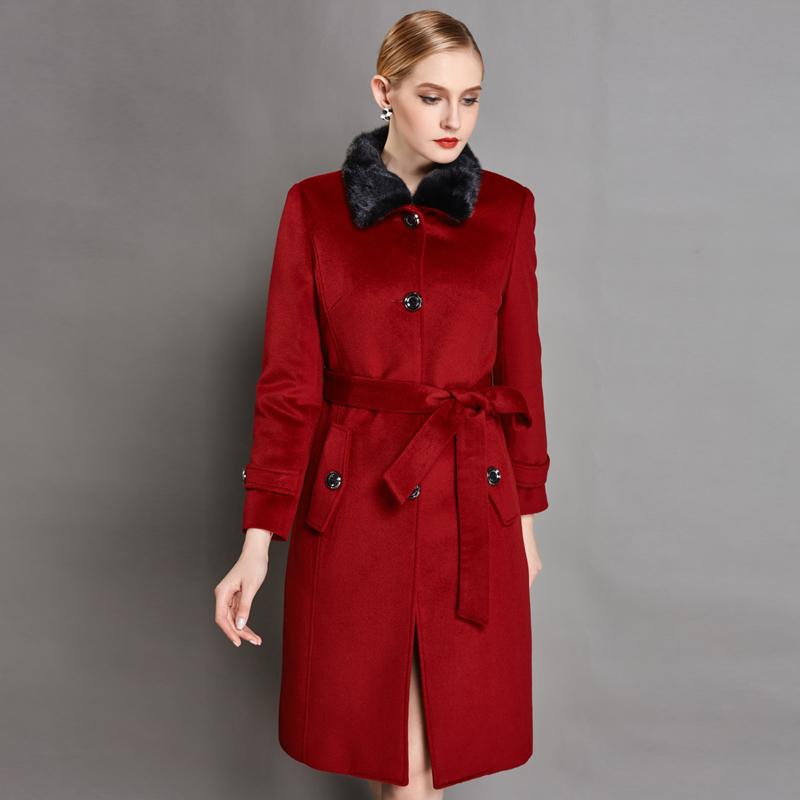 聚929太平鸟女装2015冬品貂子毛领毛呢外套羊毛大衣女A4AA54312
