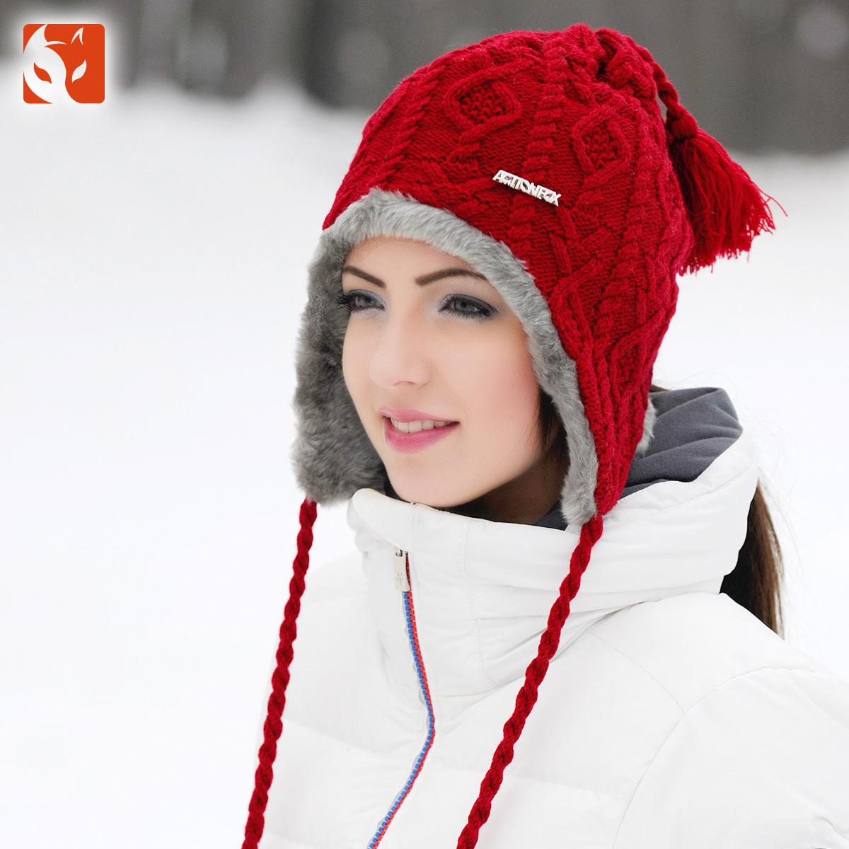 快乐狐狸帽子女冬季韩版潮针织毛线帽冬天双层加厚护耳帽0630