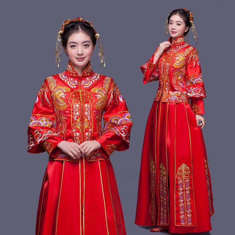 婚纱礼服新娘旗袍红色长短袖敬酒服女2016新款中式结婚嫁衣秀禾服