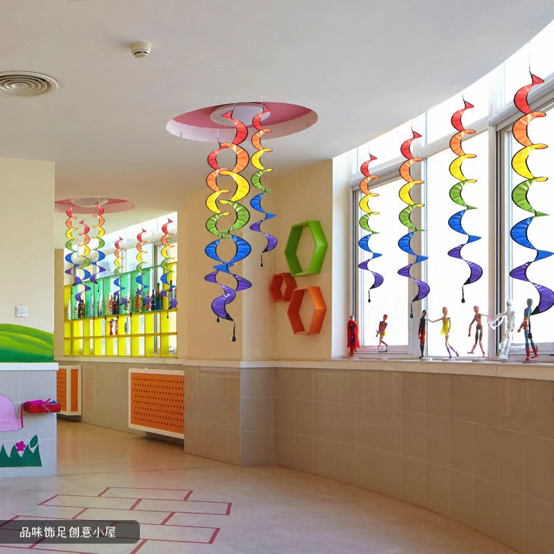 Kindergarten Ring A Strap Rotating Rainbow Windmill Corridor Clroom Outdoor Decorative Ceiling Ornaments Colorful Wind