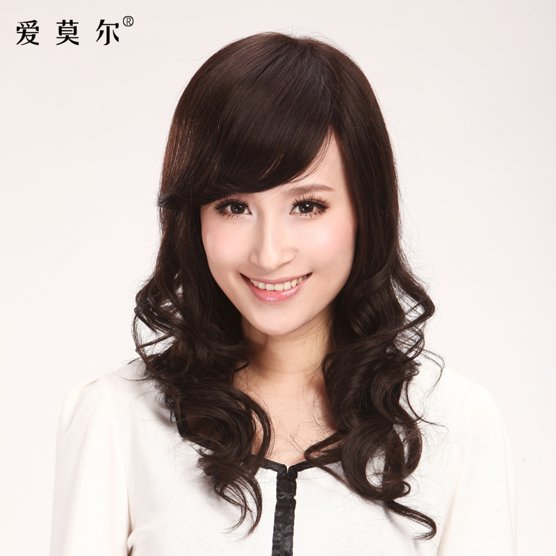 USD 521.27] Love Moore hand-woven real hair wig female long curly ...