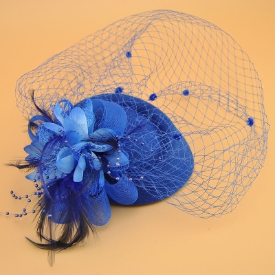 Stage performance headdress retro mesh yarn feather bowler hat hairdress children's festival performance small hat hairpin