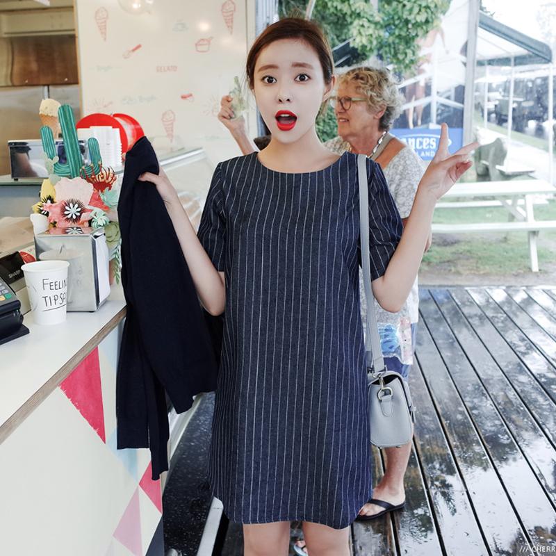 2016夏装韩版女竖条纹宽松大码显瘦牛仔吊带背带连衣裙新款短裙子