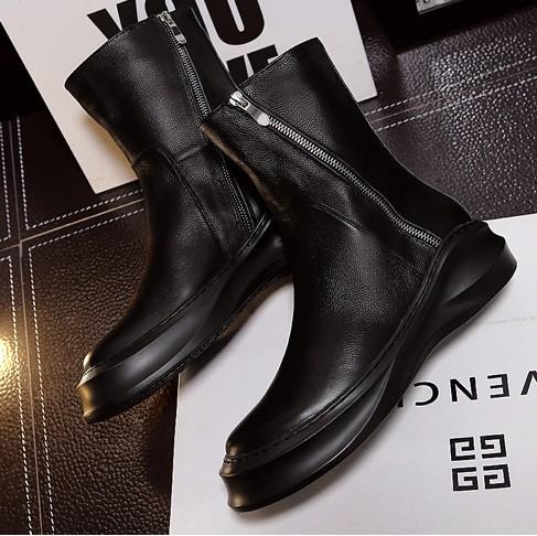 冬季男士加绒保暖长筒靴韩版潮流马丁靴高筒军靴男靴子皮靴牛仔靴