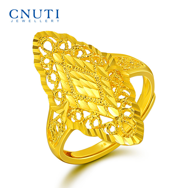 USD 580.82] CNUTI gold ring female 999 pure gold Golden Finger ...