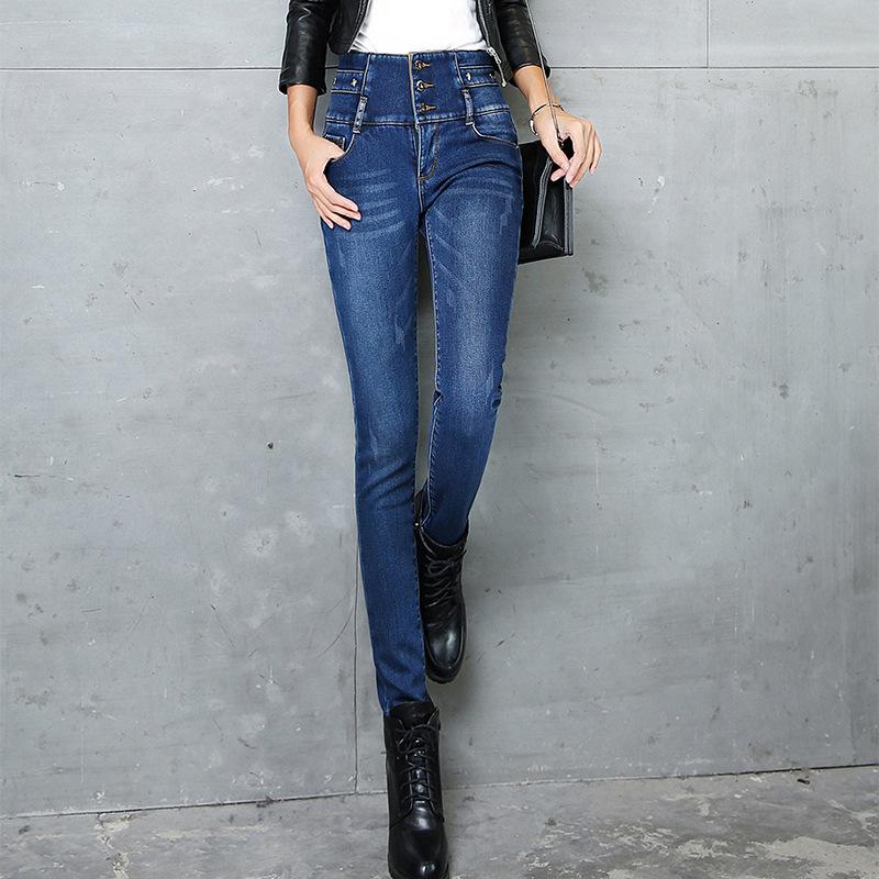 韩国代购冬装学生高腰加绒牛仔裤女韩版弹力紧身显瘦小脚铅笔长裤