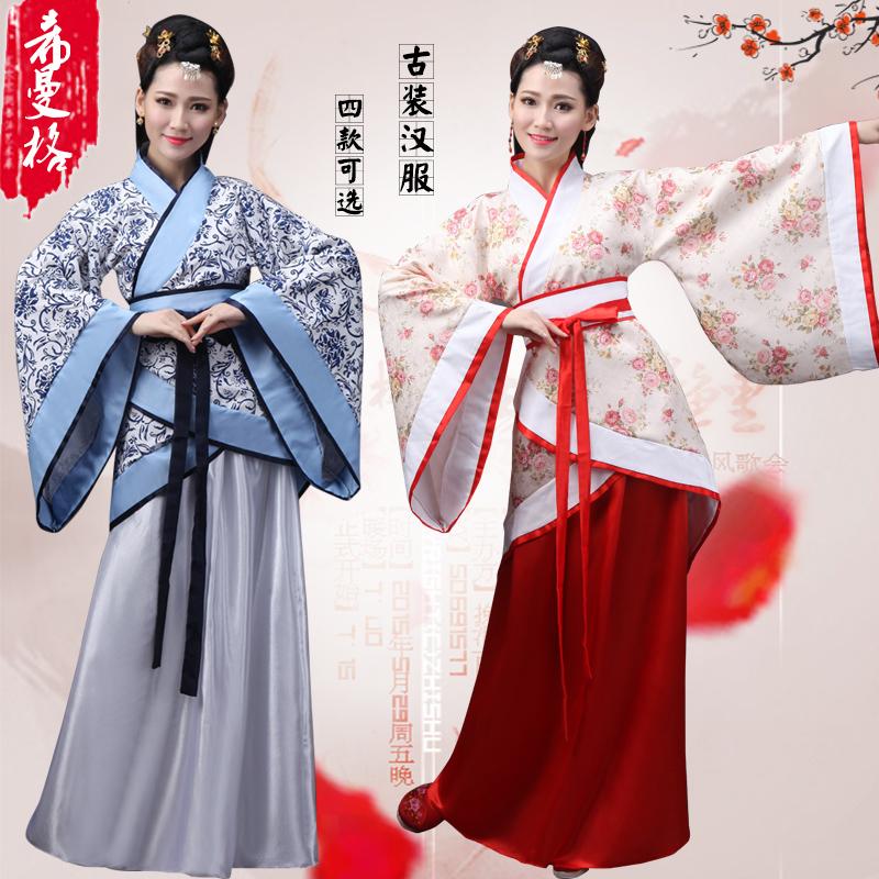 古装汉服女装 正规曲裾汉服改良 唐装汉服演出服装 婚礼侍女伴娘