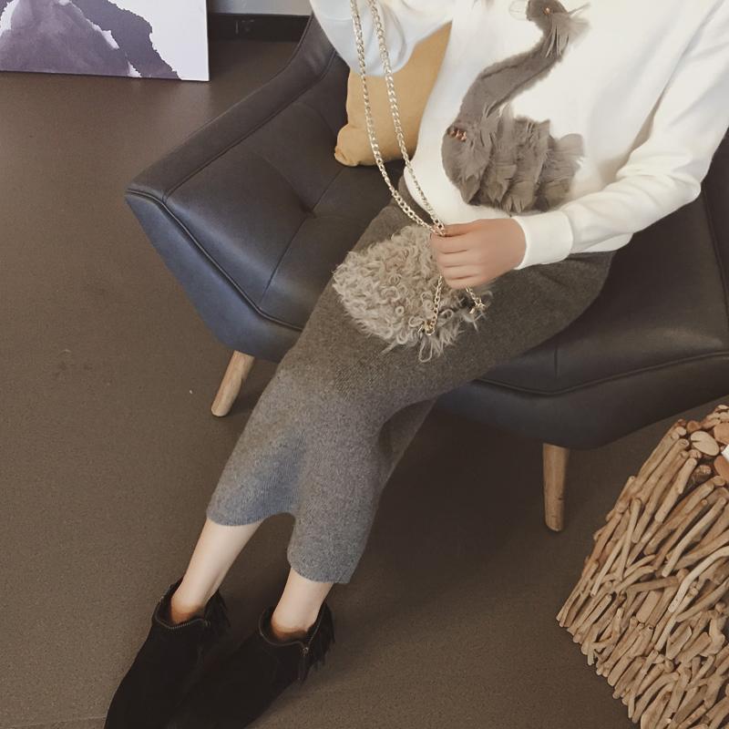仙娇倩2015新款前侧开叉修身显瘦包臀针织两穿半身裙毛线裙一步裙
