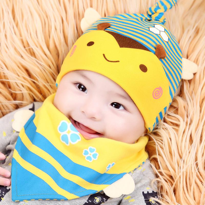 婴儿帽子新生儿帽子套头帽0-3-6-12个月春秋季男女宝宝帽纯棉秋冬