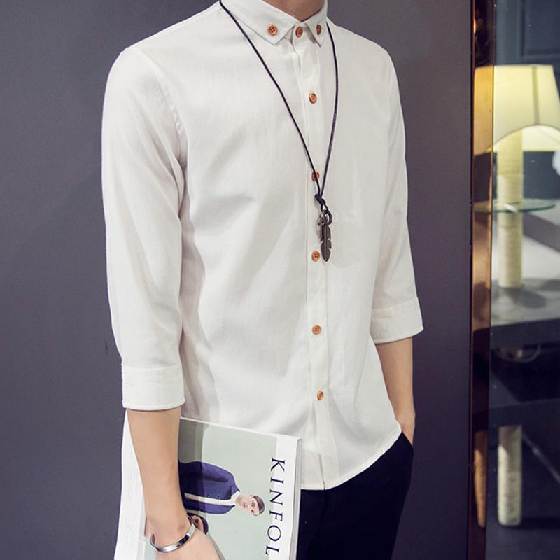 迈俊2016春秋季日系长袖衬衫男士七分袖白衬衣中袖韩版修身潮男装