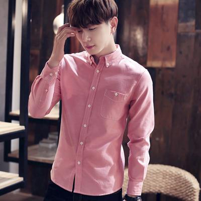 秋冬季牛津纺衬衫韩版男士加绒加厚长袖衬衣青年休闲打底修身衬衫