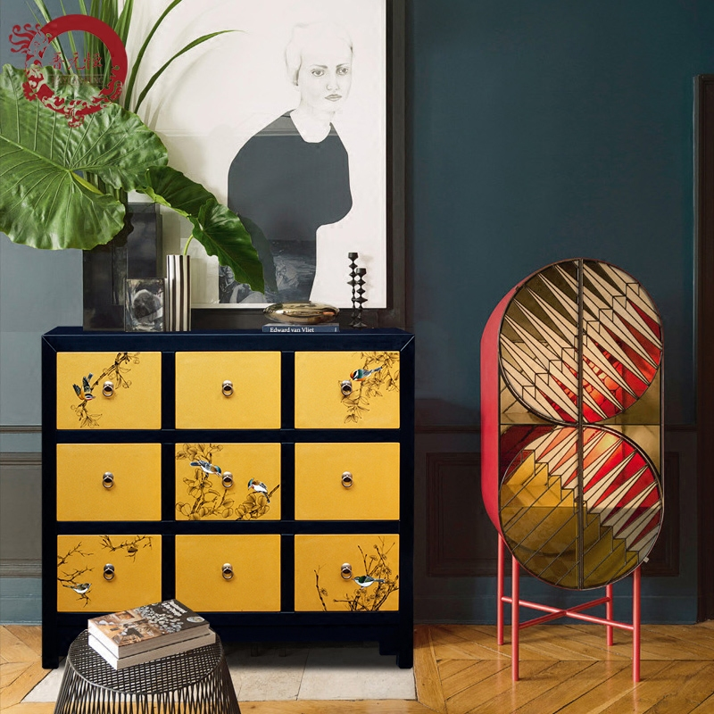 ... Decorative Lockers Storage Cabinet ?Share. Jinyuan Henggong Color  Painted Nine Chest Of Drawers Multi Drawer New Chinese Style Wooden Japanese