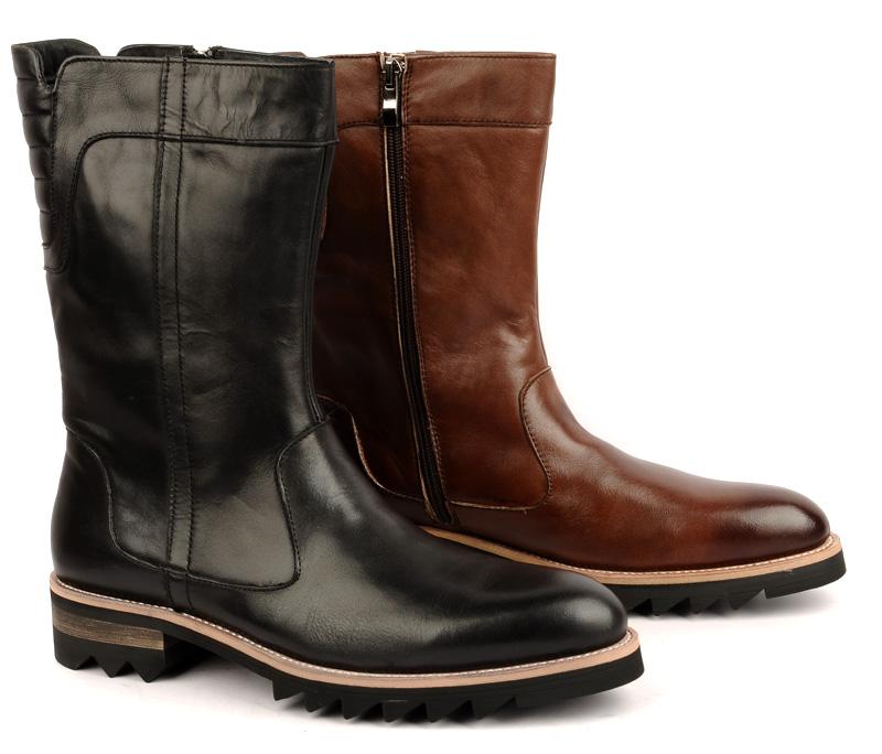 高筒靴子男式长靴潮流马丁靴军靴时尚户外靴皮靴真皮欧美男秋冬