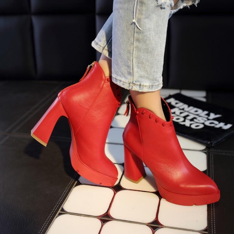 红底真皮短靴女马丁靴2015粗跟厚底靴子高跟防水台短筒靴秋冬棉靴