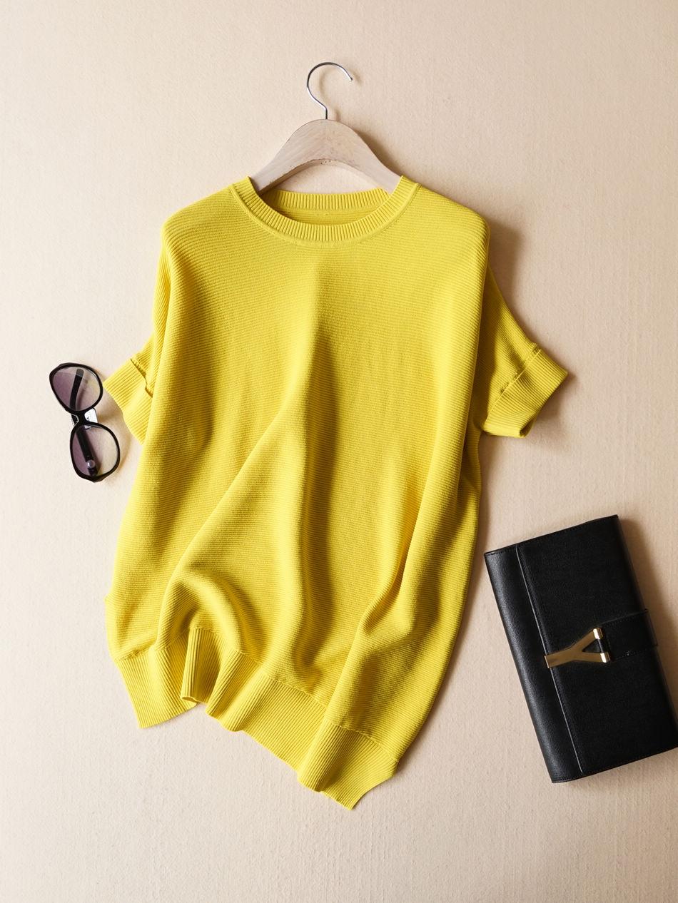 毛衣女套头韩版学生宽松薄短款镂空蝙蝠袖短袖秋装上衣针织衫罩衫