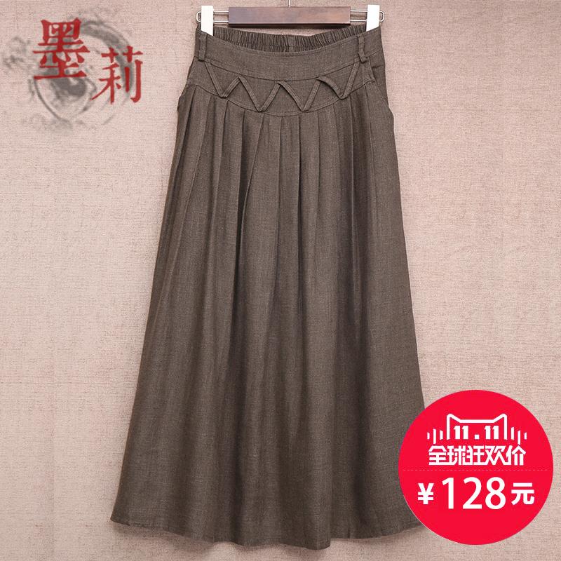秋冬款女装半身裙棉麻半身长裙文艺亚麻裙子显瘦中长款半裙大摆裙