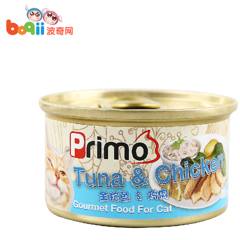 宠物猫零食PRIMO 高汤低脂系列白身金枪鱼+鸡肉猫罐头80g 猫湿粮