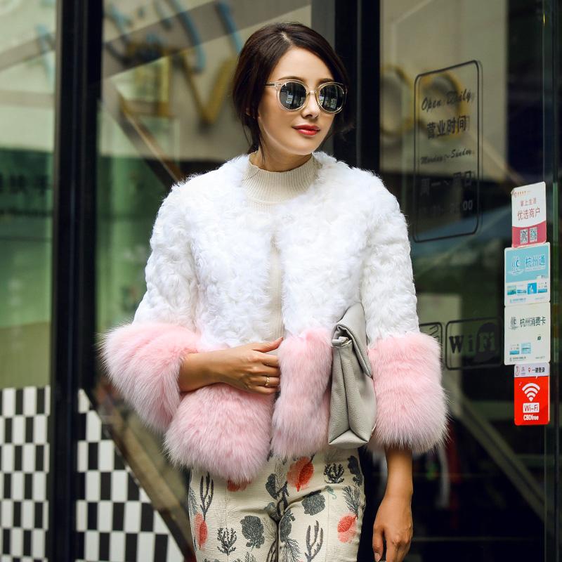进口圈圈羊羔毛皮草外套2015新款海宁皮草双11特价整皮七分袖短款