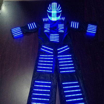 Luminous performance costumes, laser dances, LED stilts stage costume, remote color changing electric dance robot costume.