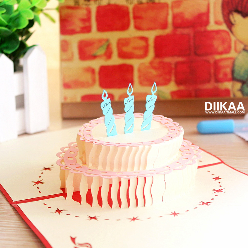 Birthday Cake Greeting Card 3D Creative Gift DIY Three Dimensional Paper Carving Holiday Staff Korea Blessing Small