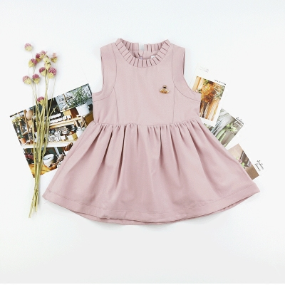 Girls pink princess dress Korean brand children's clothing pink baby temperament sleeveless vest dress autumn