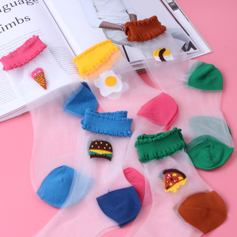 5 pairs of Japanese female summer ultra-thin transparent crystal socks glass stockings cute tide Korea small fresh short socks