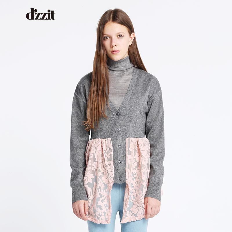 DAZZLE地素2016春气质V领长袖格子针织开衫女2M1E506正品代购
