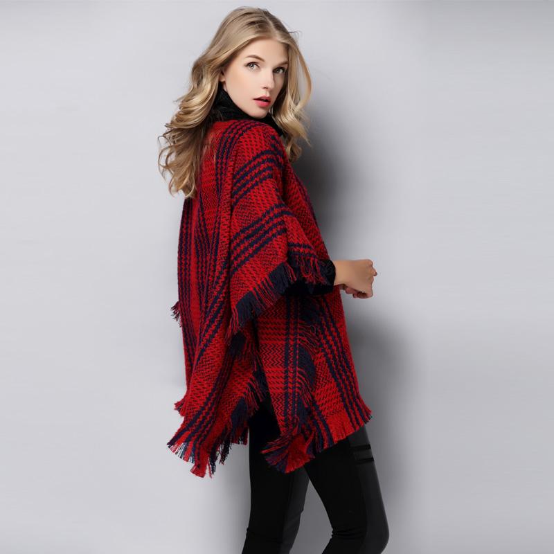 秋冬新款明星中国好声音贝贝同款撞色流苏披肩毛呢外套斗篷大衣女
