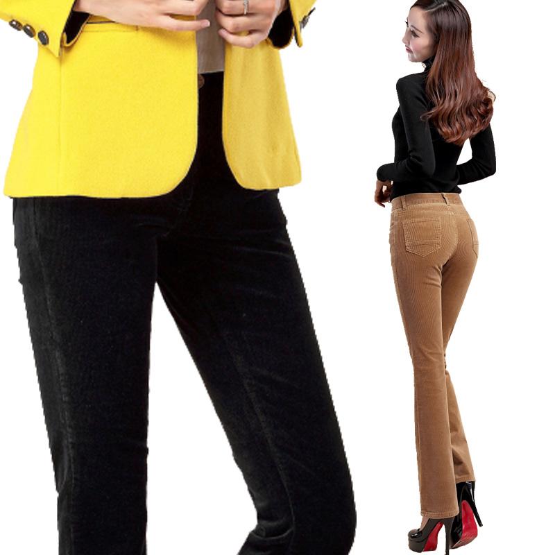 秋冬新款高腰微喇裤灯芯绒条绒中年女裤弹力休闲女裤子长裤有大码